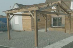 montage d'un carport préparation de la strucutre en bois