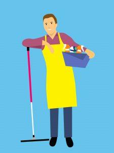 homme nettoyage terrasse